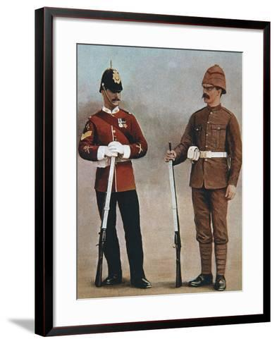 Colour-Sergeant and Private of the Gloucester Regiment Demonstrating 2 Styles of British Uniform--Framed Art Print