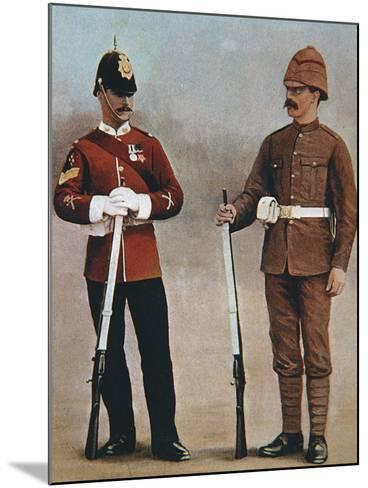Colour-Sergeant and Private of the Gloucester Regiment Demonstrating 2 Styles of British Uniform--Mounted Photographic Print