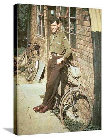 A United States Air Force Pilot Standing in Front of His Quarters, England, United Kingdom, 1944--Stretched Canvas Print