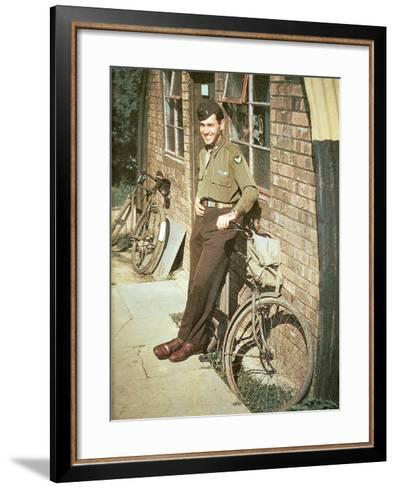 A United States Air Force Pilot Standing in Front of His Quarters, England, United Kingdom, 1944--Framed Art Print
