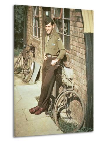 A United States Air Force Pilot Standing in Front of His Quarters, England, United Kingdom, 1944--Metal Print