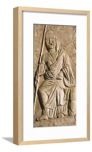 Relief Depicting Actor in Theatrical Costume, from Roman Theatre in Sabratah, Libya--Framed Art Print