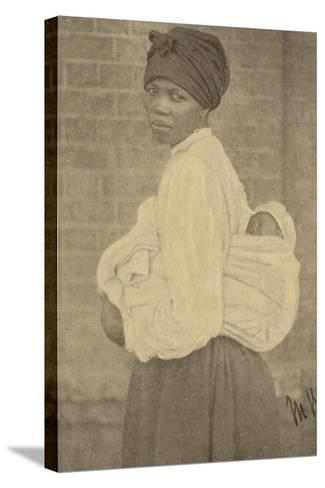 Postcard Depicting a Zulu Woman and Her Baby--Stretched Canvas Print