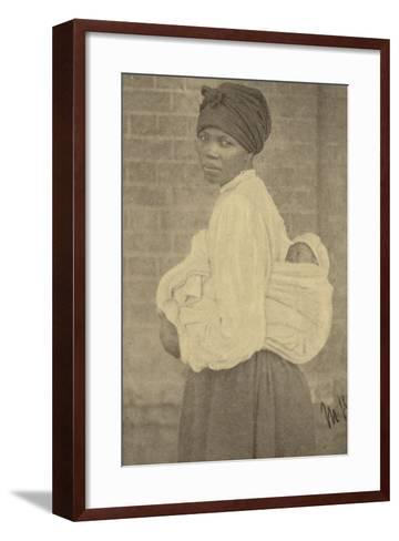 Postcard Depicting a Zulu Woman and Her Baby--Framed Art Print