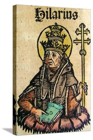 Portrait of Pope Hilarius, Published in the Nuremberg Chronicle, 1493--Stretched Canvas Print