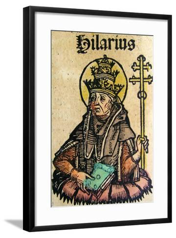 Portrait of Pope Hilarius, Published in the Nuremberg Chronicle, 1493--Framed Art Print