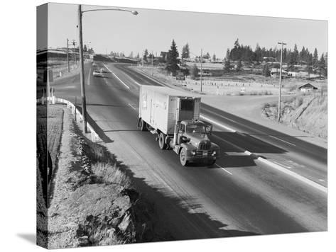 Truck Transporting Delivery to Safeway-Ray Krantz-Stretched Canvas Print