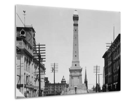 Soldiers and Sailors Monument during Construction in Indianapolis--Metal Print