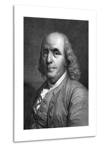 Engraved Portrait of Benjamin Franklin--Metal Print