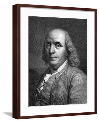Engraved Portrait of Benjamin Franklin--Framed Art Print