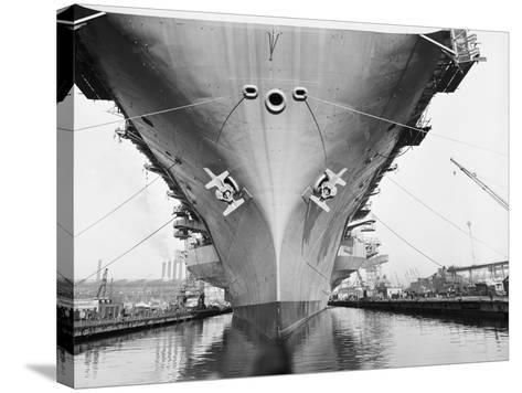 Bow of the USS Saratoga Warship-Arthur Sasse-Stretched Canvas Print