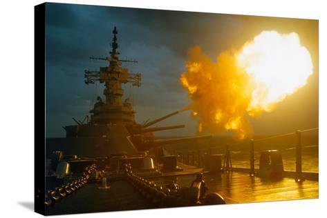 View of USS New Jersey Firing Guns-Kent Potter-Stretched Canvas Print