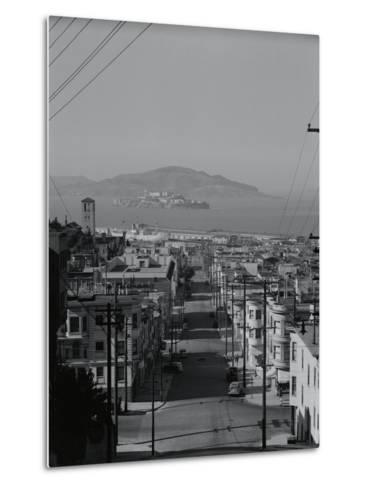View of Alcatraz Island from Russian Hill-Philip Gendreau-Metal Print