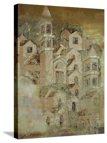 View of Medieval City of Ambulatory of Cosmatesque Cloister in Monastery of St Scholastica--Stretched Canvas Print