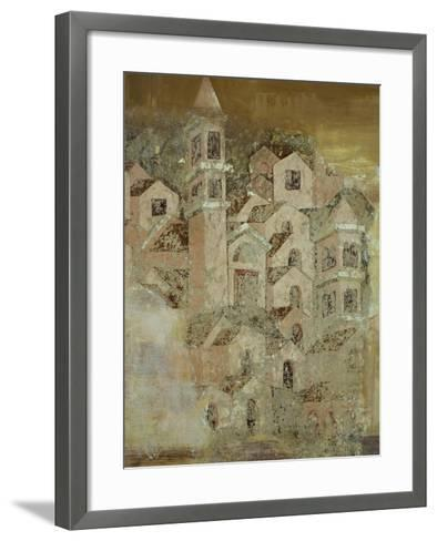 View of Medieval City of Ambulatory of Cosmatesque Cloister in Monastery of St Scholastica--Framed Art Print