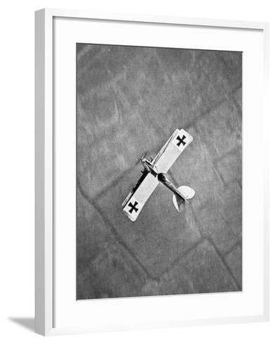 German Aviatik Type Aeroplane Photographed from a Belgian Aircraft over the Yser Front--Framed Art Print