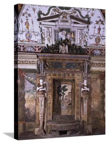 Fountain with View of Temple of Sybil in Tivoli--Stretched Canvas Print