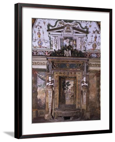 Fountain with View of Temple of Sybil in Tivoli--Framed Art Print