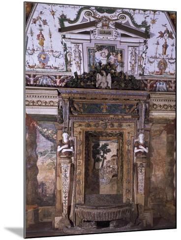 Fountain with View of Temple of Sybil in Tivoli--Mounted Giclee Print