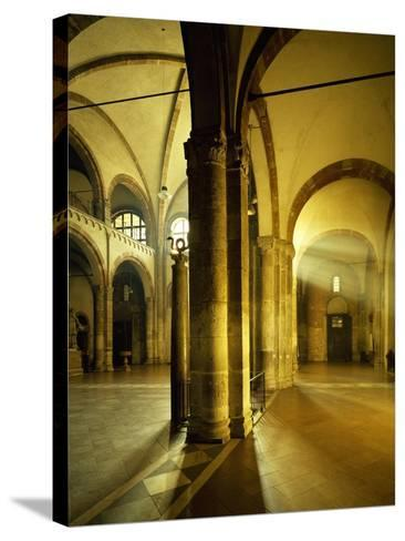 Italy, Milan, Basilica of Sant'Ambrogio, Interior of Left Nave--Stretched Canvas Print