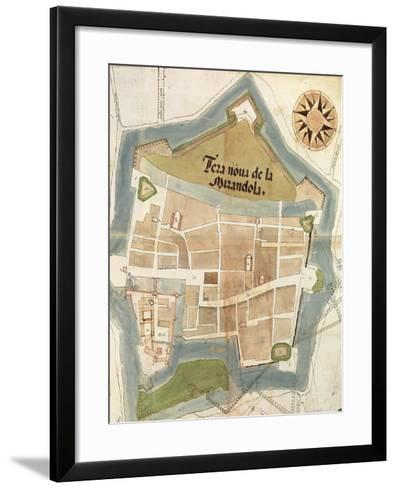 Plan of the Fortress of Mirandola, Lombardy Region--Framed Art Print