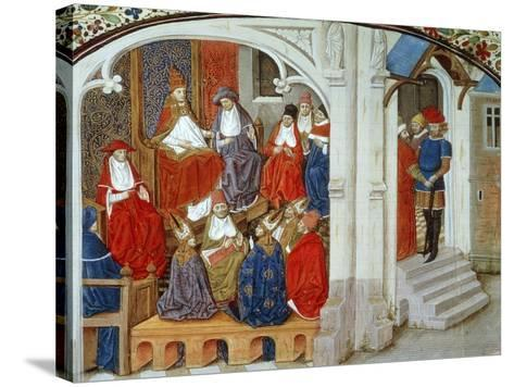 Pope Urban II Announcing First Crusade, 1095, Miniature Taken from This History of Crusades--Stretched Canvas Print