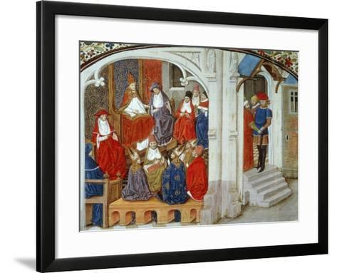 Pope Urban II Announcing First Crusade, 1095, Miniature Taken from This History of Crusades--Framed Art Print