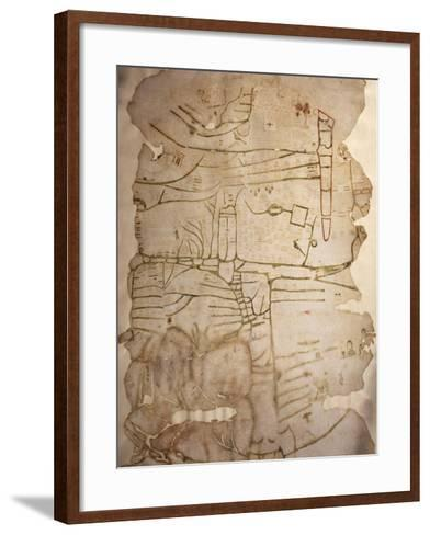 Mappa Mundi, Created in England or France, Ink on Parchment, Circa 1191-1218--Framed Art Print