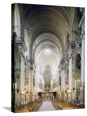 Interior of Church of Carmine in Turin, Built in 1732-1736--Stretched Canvas Print