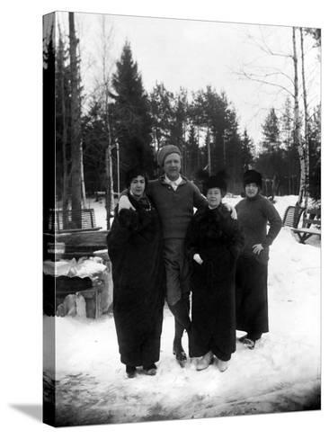 Feodor Chaliapin Skating with His Wife and Sisters, 1913--Stretched Canvas Print