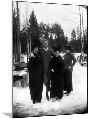 Feodor Chaliapin Skating with His Wife and Sisters, 1913--Mounted Photographic Print