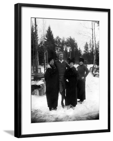 Feodor Chaliapin Skating with His Wife and Sisters, 1913--Framed Art Print