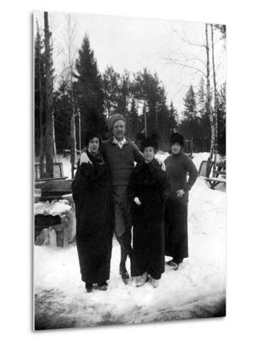Feodor Chaliapin Skating with His Wife and Sisters, 1913--Metal Print