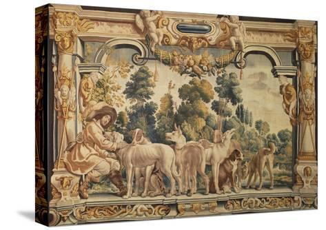Hunter with His Pack of Hounds Tapestry Woven in Brussels--Stretched Canvas Print