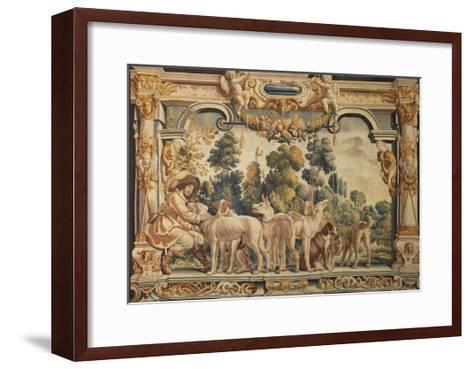 Hunter with His Pack of Hounds Tapestry Woven in Brussels--Framed Art Print
