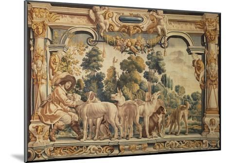 Hunter with His Pack of Hounds Tapestry Woven in Brussels--Mounted Giclee Print