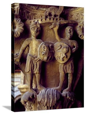 Norman Soldiers, Detail of Cloister Capital Relief, Cathedral of Santa Maria Nuova, Italy--Stretched Canvas Print