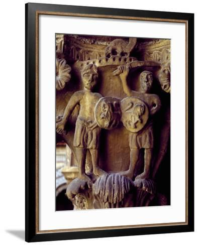Norman Soldiers, Detail of Cloister Capital Relief, Cathedral of Santa Maria Nuova, Italy--Framed Art Print
