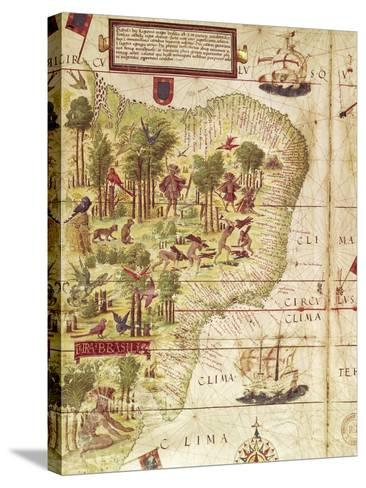 Map of Brazil, from Miller Atlas by Pedro and Jorge Reinel, Lopo Homen--Stretched Canvas Print