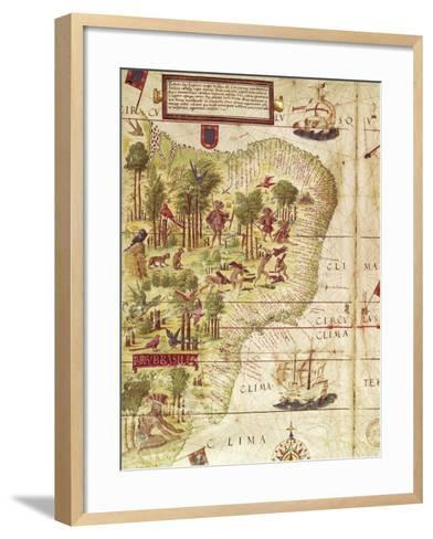 Map of Brazil, from Miller Atlas by Pedro and Jorge Reinel, Lopo Homen--Framed Art Print