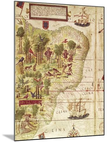 Map of Brazil, from Miller Atlas by Pedro and Jorge Reinel, Lopo Homen--Mounted Giclee Print
