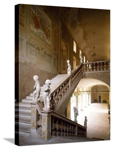 Italy, Emilia-Romagna, Rocca Meli-Lupi of Soragna, Interior Staircase--Stretched Canvas Print