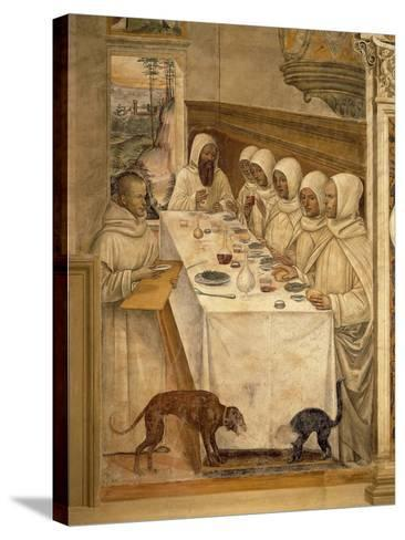 St. Benedict Finds Flour and Feeds the Monks, from the Life of St. Benedict, 1497-98--Stretched Canvas Print