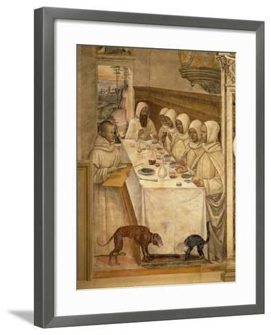 St. Benedict Finds Flour and Feeds the Monks, from the Life of St. Benedict, 1497-98--Framed Art Print