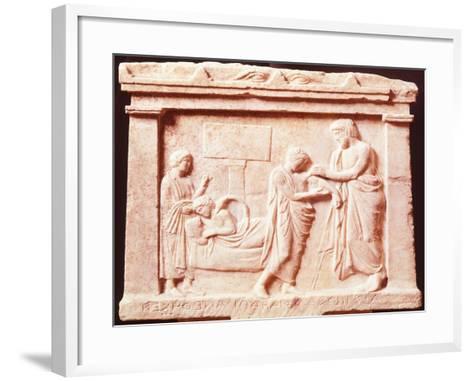 Amphiaraus Tends to Snake Bite on Archinoo's Shoulder--Framed Art Print