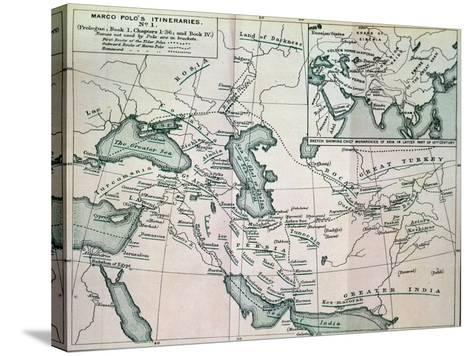 """Middle East: """"Marco Polo's Itineraries I"""", from """"The Book of Ser Marco Polo"""", Pub. 1903--Stretched Canvas Print"""