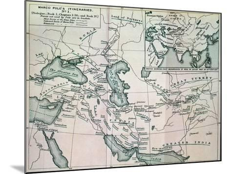 """Middle East: """"Marco Polo's Itineraries I"""", from """"The Book of Ser Marco Polo"""", Pub. 1903--Mounted Giclee Print"""