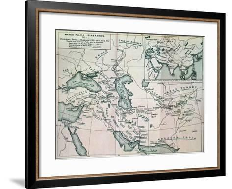 """Middle East: """"Marco Polo's Itineraries I"""", from """"The Book of Ser Marco Polo"""", Pub. 1903--Framed Art Print"""