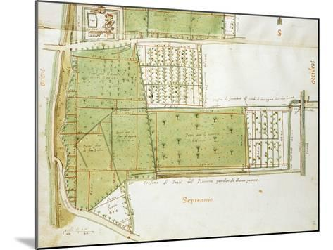 Map of Country Estates of the Court of the Gualtirolo, Commune of Campegine in Castelnuovo Di Sotto--Mounted Giclee Print