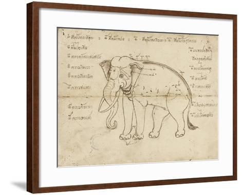 Page of a Manuscript on Elephant Training, Early 20th Century--Framed Art Print